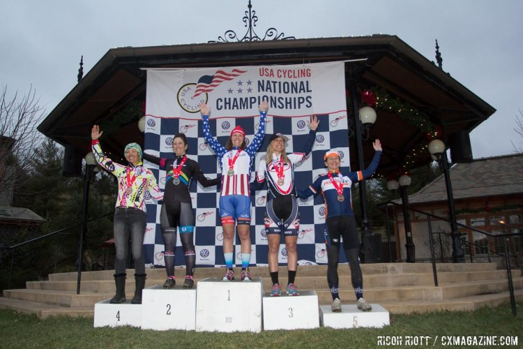 2016 USA Cycling Women's Singlespeed Cyclocross National Championship Podium. © R. Riott / Cyclocross Magazine