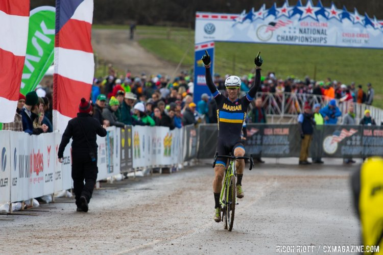 Victory for Andrew Dillman. © R. Riott / Cyclocross Magazine