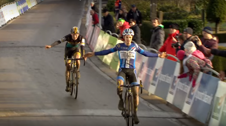 Quinten Hermans  takes the win at the 2015 GP Sven Nys with teammate Thijs Aerts right behind.