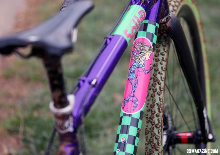 David Thompson's bike is a replica of Squid Pro Anthony Clark's bike. Paul Antonson graphics overlaying the purple paint give Thompson's bike a unique flair. © Cyclocross Magazine