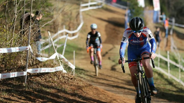 Nicole Mertz leads Jessica Cutler and takes the Women's Singlespeed Championship race, 2016 Cyclocross National Championships. © Cyclocross Magazine
