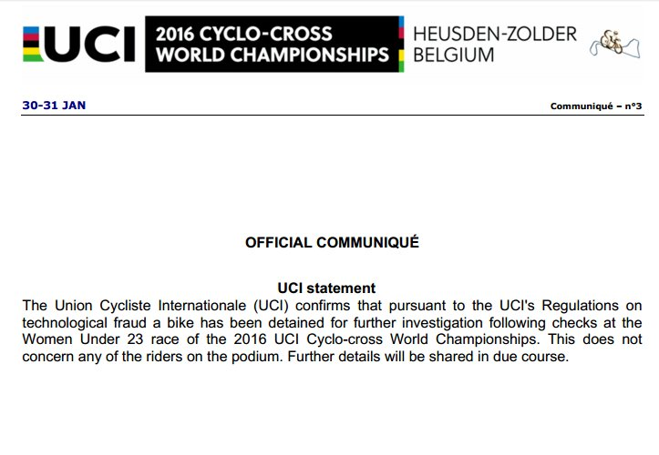 The UCI suspected mechanical doping at the 2016 Cyclocross World Championships