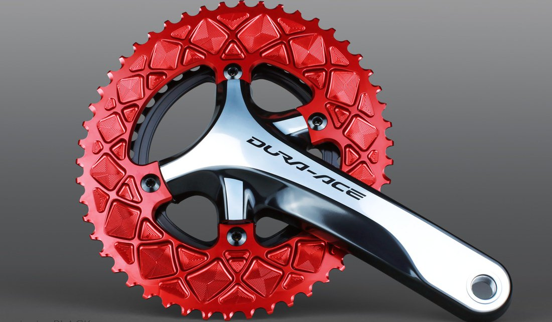 Absoluteblack's Oval Road chainrings come in numerous teeth counts and bolt circle diameters and are confirgured for Shimano and SRAM cranks.