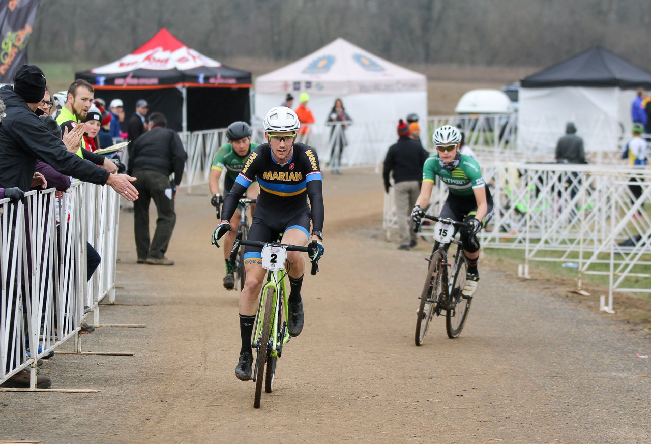 Drew Dillman on course passing through the rider exchange area. 2016 National Championships. © Cyclocross Magazine