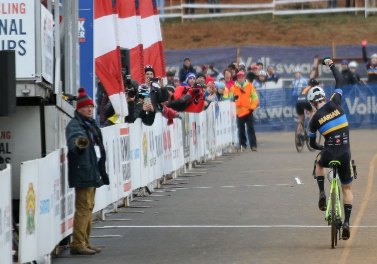 Drew Dillman savoring the victory in the Collegiate D1 relay. 2016 National Championships. © Cyclocross Magazine