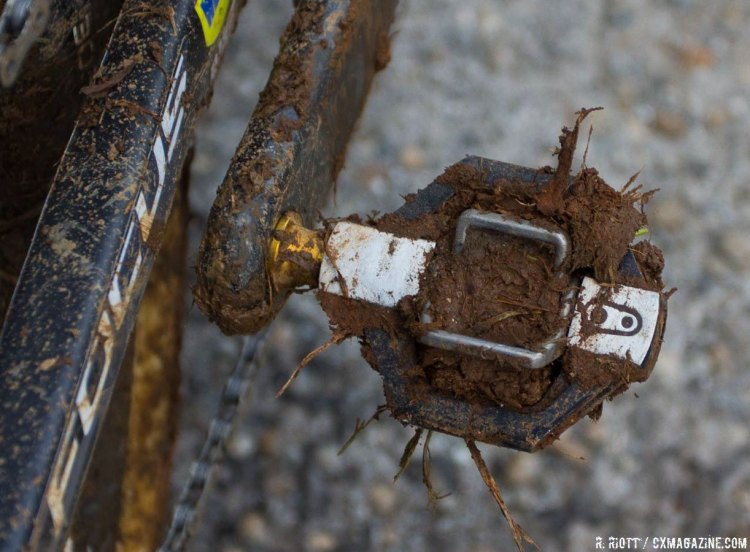 Powers, along with many other competitors, had some difficulty clipping in during the race. His Crankbrothers Candy pedals still carry the mud that proved to be such a hindrance. © Cyclocross Magazine