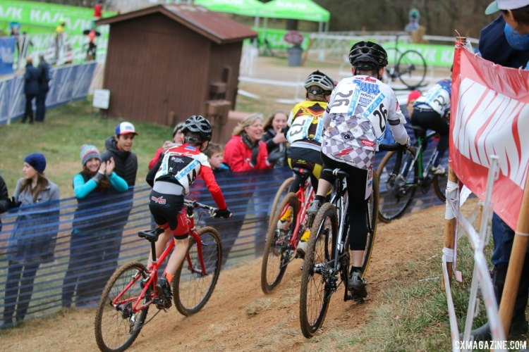 The youngest juniors had little problem with the severe off-cambers. Junior Men 9-10, 2016 Cyclocross National Championships. © Cyclocross Magazine