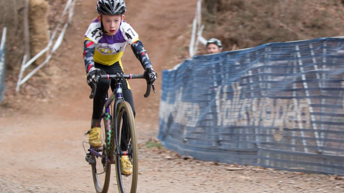 David Thompson dominated the Junior Men 9-10 race. 2016 Cyclocross National Championships. © Cyclocross Magazine