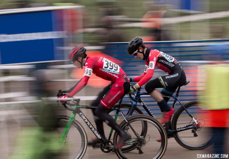 The race between Ben Gomez Villafañe and Gaelen Kilburn in the Junior Men 15-16 race was one of the more exciting races of the day. 2016 Cyclocross National Championships. © Cyclocross Magazine