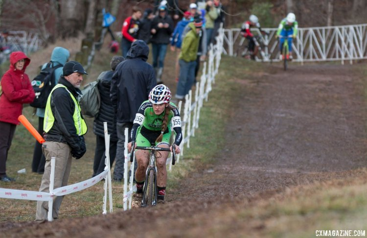 Clouse goes clear and is headed to a win in Junior Women 15-16, 2016 Cyclocross National Championships. © Cyclocross Magazine
