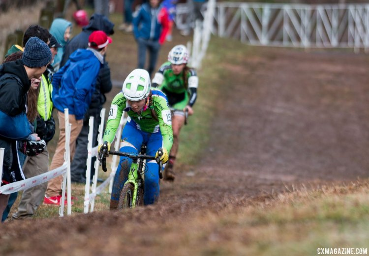 Ramsay and Klouse traded blows in a back-and-forth fight for the win in the JJunior Women 15-16, 2016 Cyclocross National Championships. © Cyclocross Magazine