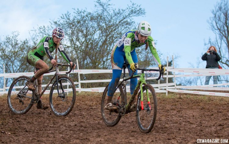 Katie Clouse (Alpha Bicycle Co. - Vista Subaru), shown here in second, on her way to victory at the Junior Women 15-16, 2016 Cyclocross National Championships. © Cyclocross Magazine