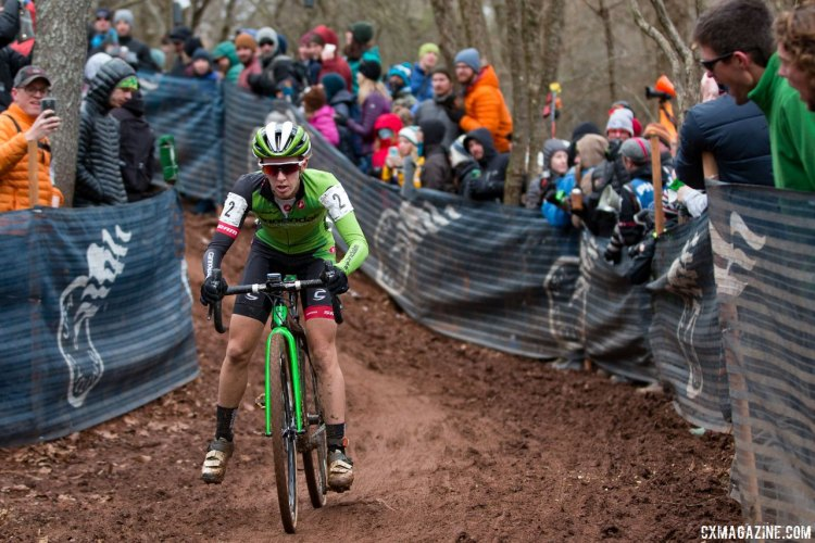 Kaitie Antonneau had an impressive ride to third. Elite Women, 2016 Cyclocross National Championships. © Cyclocross Magazine