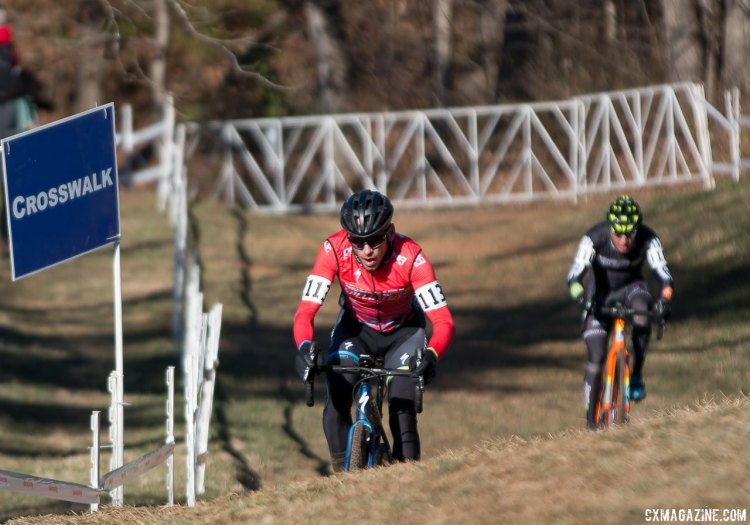 Sean Estes overcame a fourth row start to finish fourth. Masters 35-39, 2016 Cyclocross National Championships. © Cyclocross Magazine