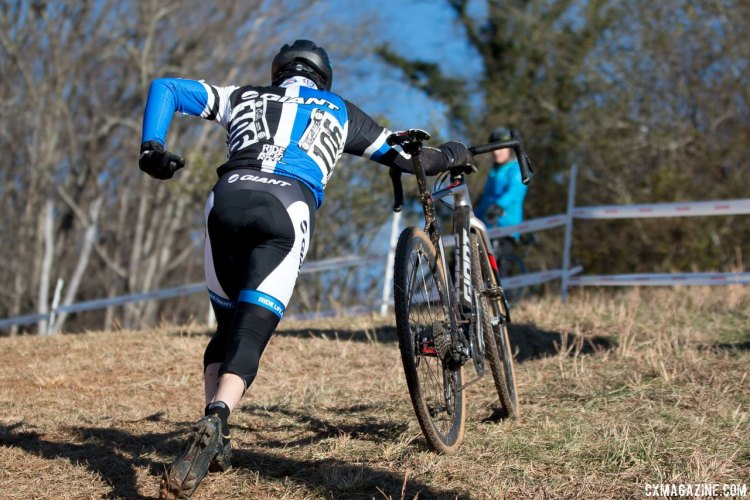 Tom Burke literally ran after the riding Lasley and Shriver up the Heckle Hill, and would finish third. Masters 35-39, 2016 Cyclocross National Championships. © Cyclocross Magazine