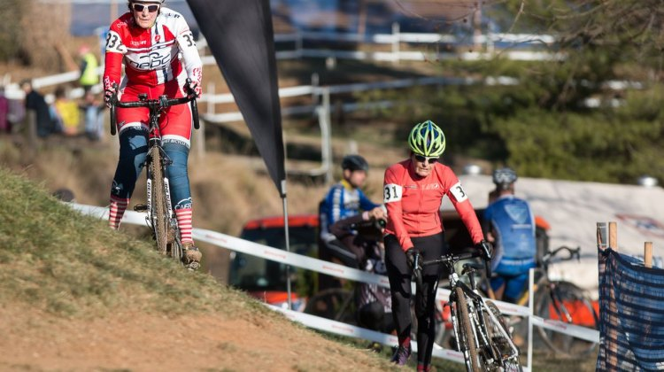 Julie Lockhart (l) and Val Graciela had a back and forth race in the Masters Women 75-79 title chase.2016 Cyclocross National Championship. © Cyclocross Magazine