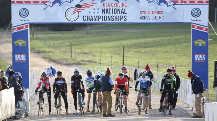 The start of the Men's 70-74, 75-79 and 80+ race saw nine racers take the line. © Cyclocross Magazine