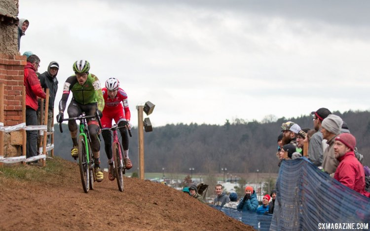 Stephen Hyde and Logan Owen chase Jeremy Powers. Elite Men, 2016 Cyclocross National Championships. © Cyclocross Magazine