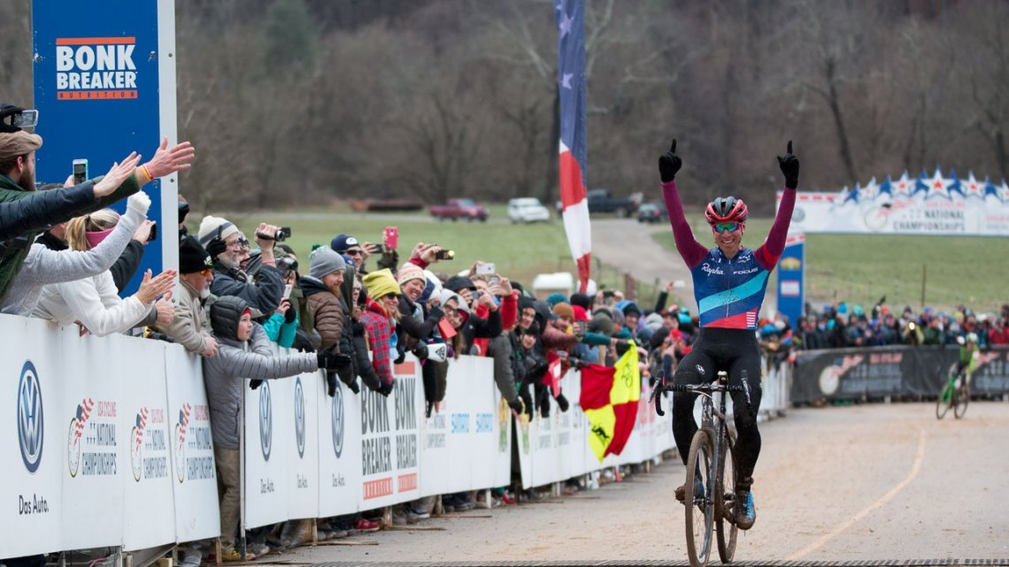 Jeremy Powers makes it three in a row, four total.Elite Men, 2016 Cyclocross National Championships. © Cyclocross Magazine