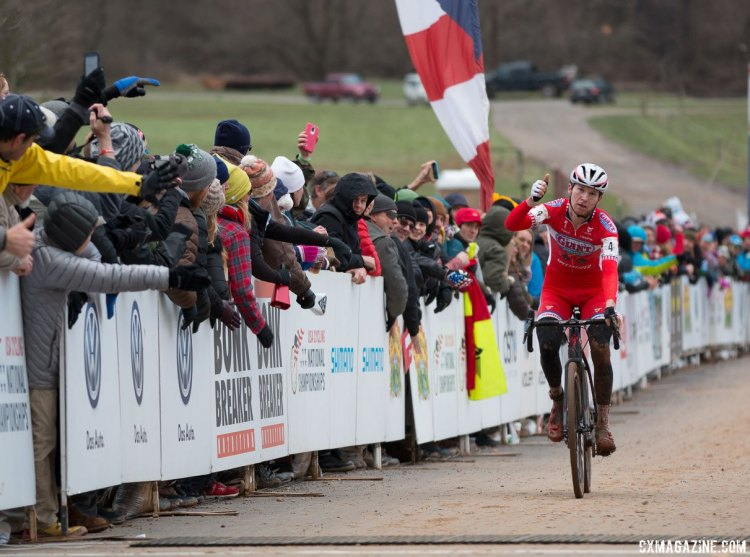 """A podium is a win today,"" said Owen. Elite Men, 2016 Cyclocross National Championships. © Cyclocross Magazine"