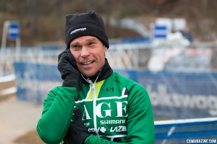 "Jonathan Page calls the family. ""I wasn't Superman today,"" he said. © Cyclocross Magazine"
