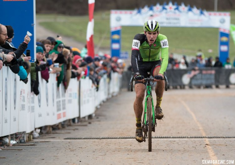 It doesn't always result in a win, but cyclocross is his favorite. photo: Curtis White gave it his all, but couldn't catch Ortenblad in his one-on-one battle in the U23 Men at the 2016 Cyclocross National Championships. © Cyclocross Magazine