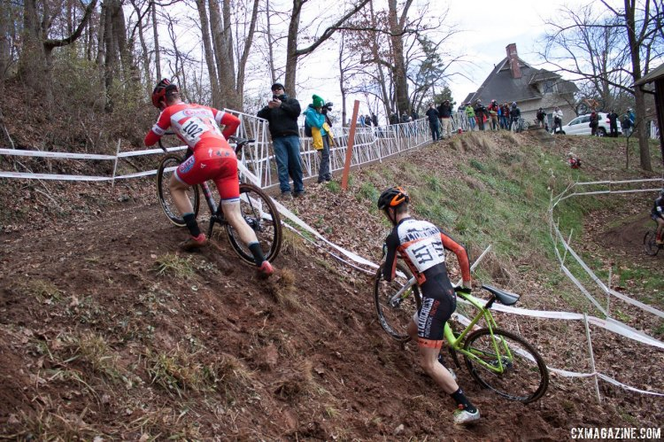 Ortenblad leads Dillman up the run up in the U23 Men's race at the 2016 Cyclocross National Championships. © Cyclocross Magazine