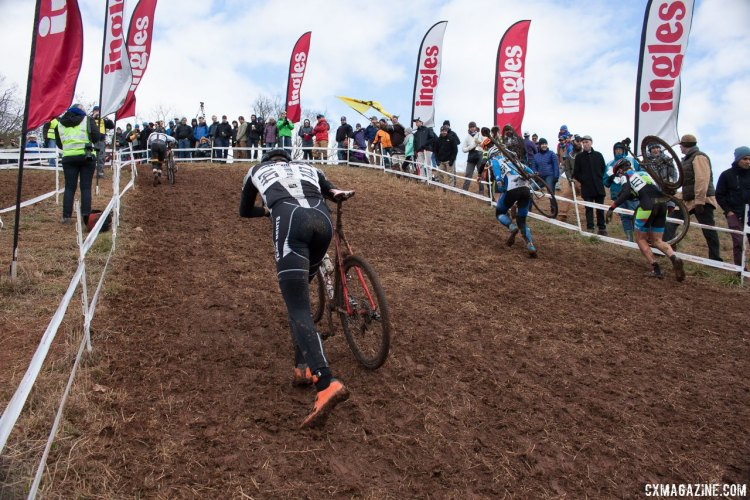 Overnight rain turned the Ingles Heckle Hill into a run up. © Cyclocross Magazine