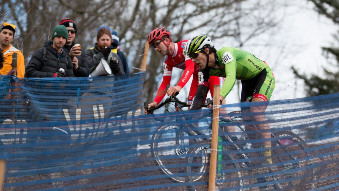 The key moment: Ortenblad took a high line, gained five bike lengths and was gone. U23 Men, 2016 Cyclocross National Championships. © Cyclocross Magazine
