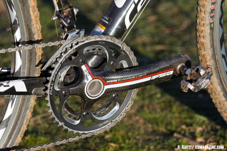 "Val's FSA K-Force Light crankset has a large ring that reads ""46/36"" but Val ran a 34 inner ring ay Nationals. 2016 Cyclocross National Championships. © R. Riott / Cyclocross Magazine"