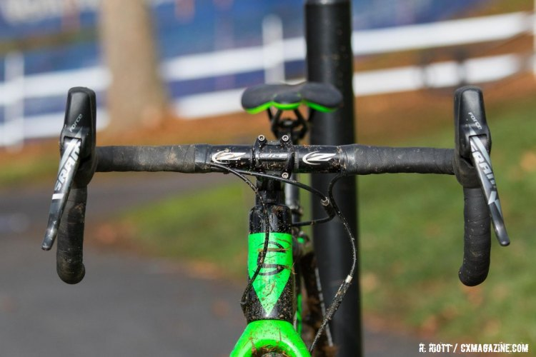 With a storming ride from the front, only the spectators saw this view of Willsey's bike. 2016 Cyclocross National Championships. © R. Riott / Cyclocross Magazine