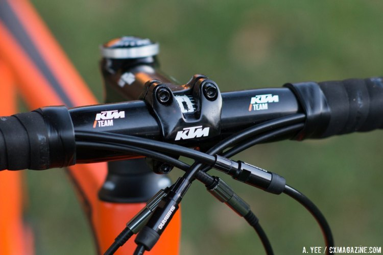 KTM specs its own lightweight alloy stem, bar, and seat post. Canic CXC cyclocross bike. © A. Yee / Cyclocross Magazine