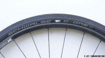 """Schwalbe's new G-One Tubeless Easy Gravel Tire comes in three sizes and is indeed """"tubeless easy."""" © Clifford Lee / Cyclocross Magazine"""