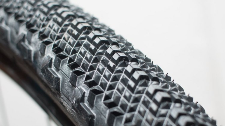 Teravail's new Cannonball gravel tire mounts easily onto a NoTubes Grail rim wtihout tire levers, but we're guessing that looser bead means it won't be a great option for Road Tubeless certified rims. Stay tuned. © Cyclocross Magazine