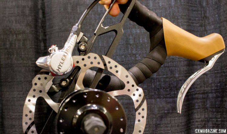TRP's new Hylex RS lever and hydraulic brakes. TRP Brakes booth, NAHBS 2016. © Cyclocross Magazine