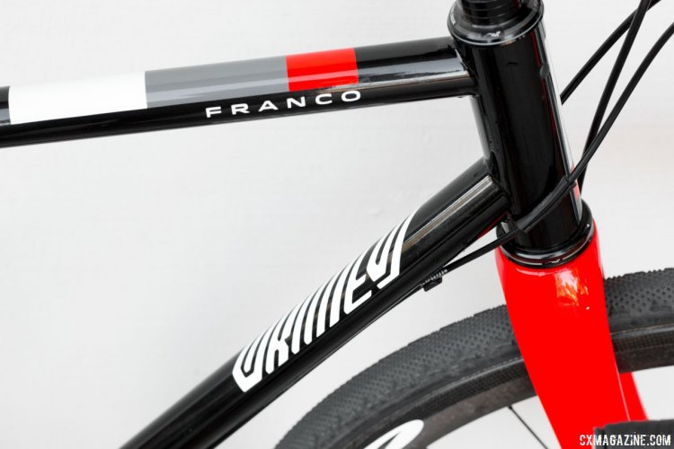 Bold, yet simple, pianted logos on Franco Bicycles' steel Grimes. © Cyclocross Magazine
