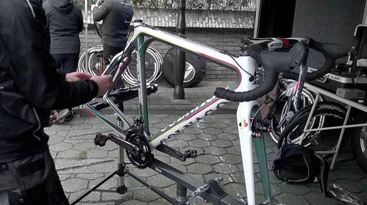 2016 World Champion Wout van Aert's Colnago Prestige being prepared for the World Champion's next ride. © Cyclocross Magazine