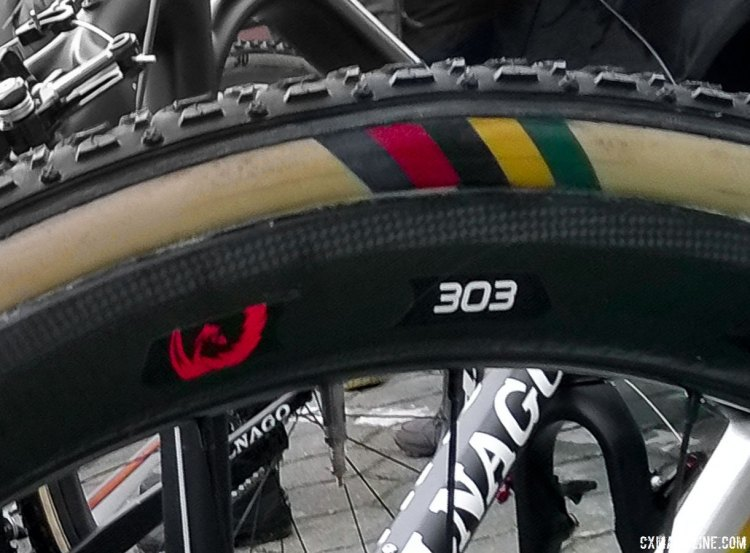 2016 World Champion Wout van Aert's Colnago Prestige rolls on Zipp's 303 tubulars. His Dugast tires received a special treatment. © Cyclocross Magazine