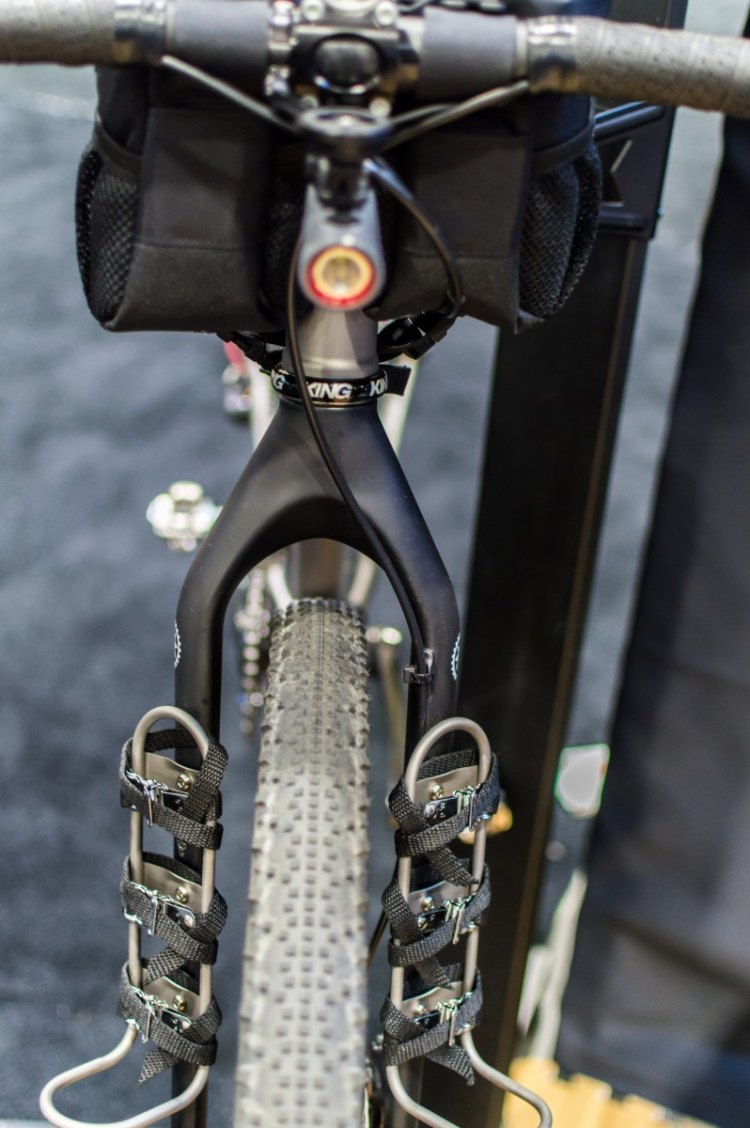The fork shown on the show bike was a Salsa Firestarter Carbon. NAHBS 2016. © Clifford Lee / Cyclocross Magazine