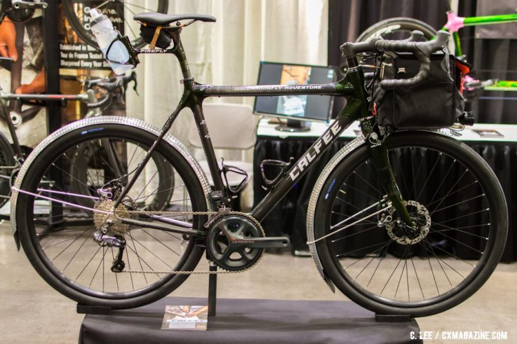 "The Calfee Dragonfly ""randoneer'd out."" NAHBS 2016. © Clifford Lee / Cyclocross Magazine"