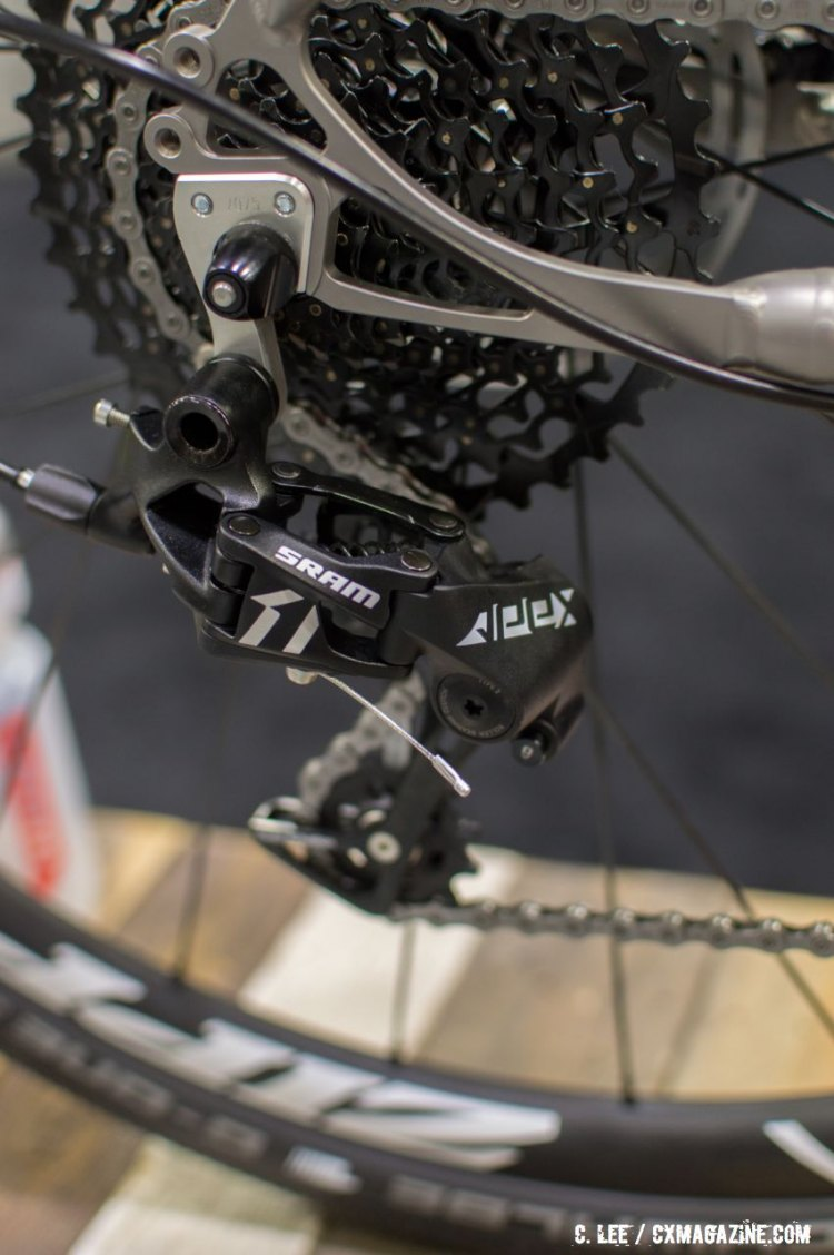 SRAM's new Apex 1 rear derailleur has the same design and features as the Rival and force 1 models. NAHBS 2016. © Clifford Lee / Cyclocross Magazine