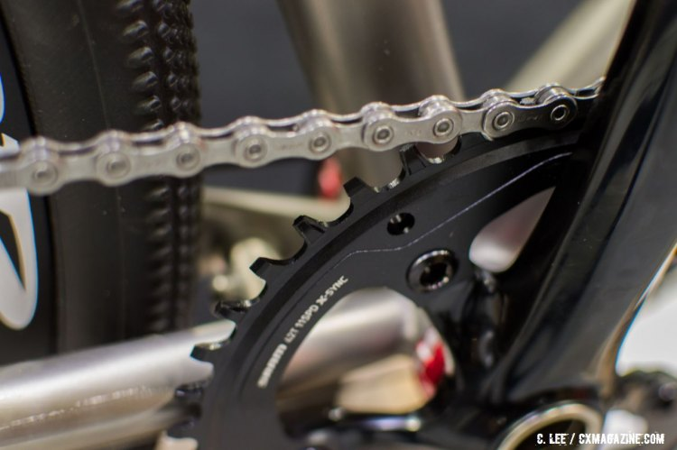 The new Apex 1 group also features SRAM's X-Sync narrow wide chainring. NAHBS 2016. © Clifford Lee / Cyclocross Magazine