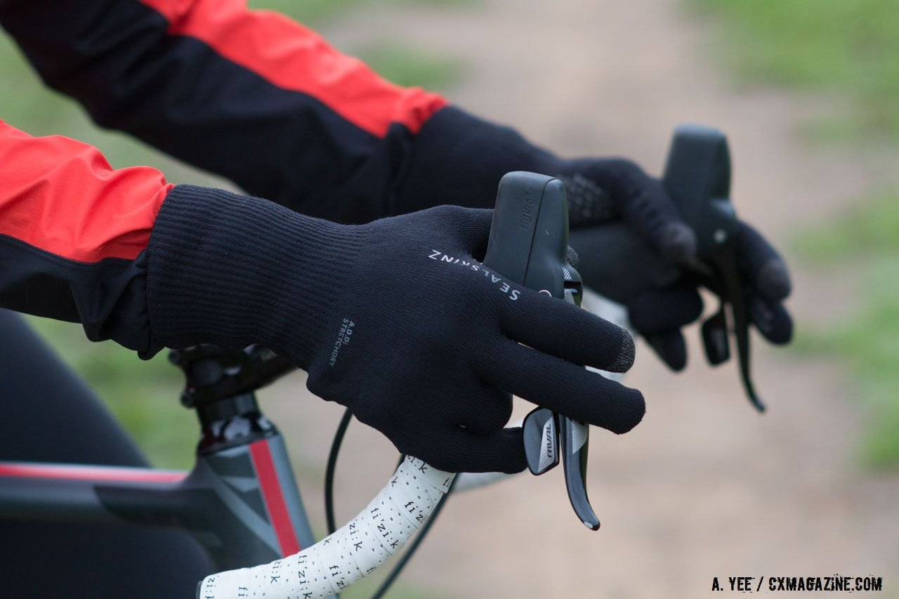 A good pair of gloves is a must for winter commuting. SealSkinz Ultra Grip rain glove. © Cyclocross Magazine