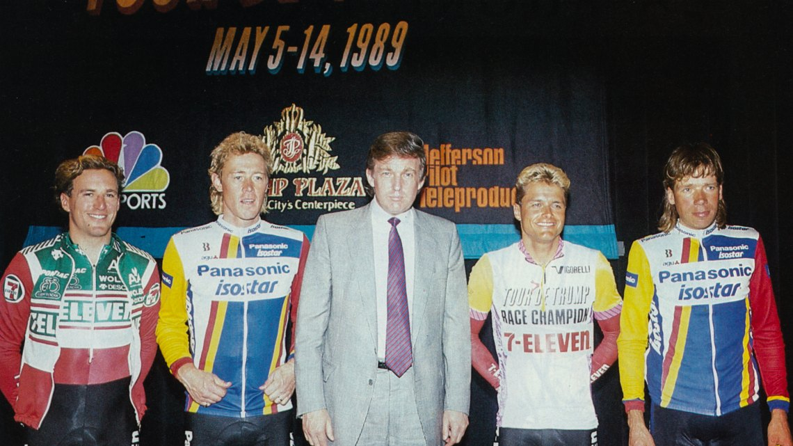 Donald Trump seen with some of the sport's biggest stars from 1989, including Dag Otto Lauritzen to Trump's left in the 1989 Tour de Trump leader's jersey. Photo courtesy: Anders