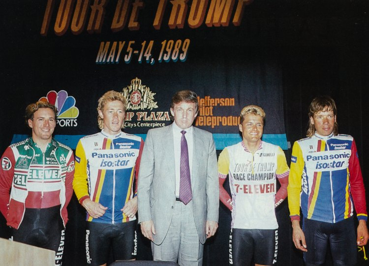Donald Trump seen with some of the sport's biggest stars from 1989, including Dag Otto Lauritzen to Trump's left in the 1989 Tour de Trump leader's jersey. Photo: Anders on flickr