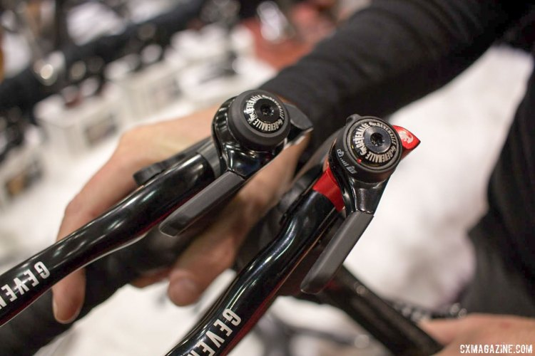 Want to run 1x with a Shimano mountain bike derailleur? 2x with a Shimano road or Gevenalle rear derailleur? Gevenalle has reliable shifter options for you. NAHBS 2016. © Cyclocross Magazine