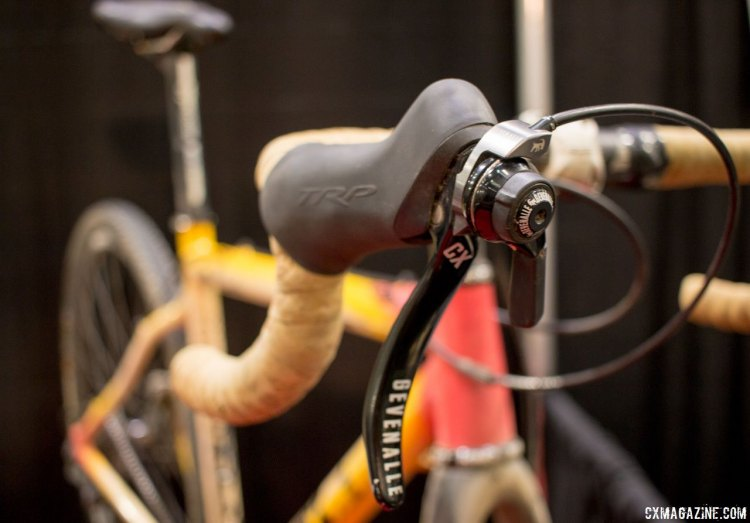Josh Liberles' Squid featured GXH shifters that pair TRP's excellent Hylex levers and brakes with Gevenalle's Shimano Dyna-Sys clutch-based rear derailleurs. NAHBS 2016. © Cyclocross Magazine