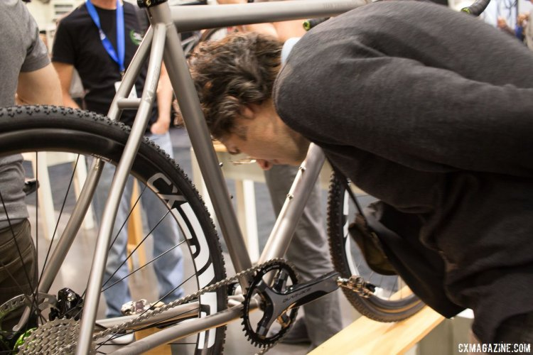Winner of best cyclocross bike in 2013 at NAHBS, the XT1 has evolved and still captures plenty of NAHBS attention. Mosaic Bespoke Bicycles. NAHBS 2016. © Cyclocross Magazine