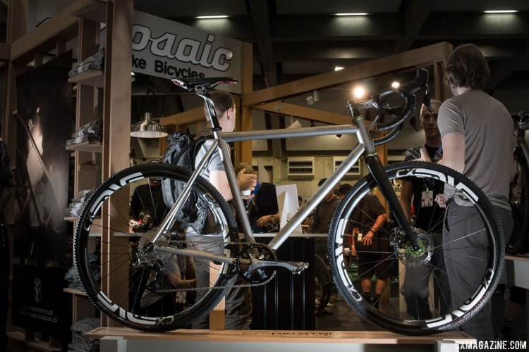 Mosaic Bespoke Bicycles' personal bike, a Team Small Batch XT1 features a Shimano Di2 1x drivetrain, with Dura-Ace crank and XTR rear derailleur. NAHBS 2016. © Cyclocross Magazine