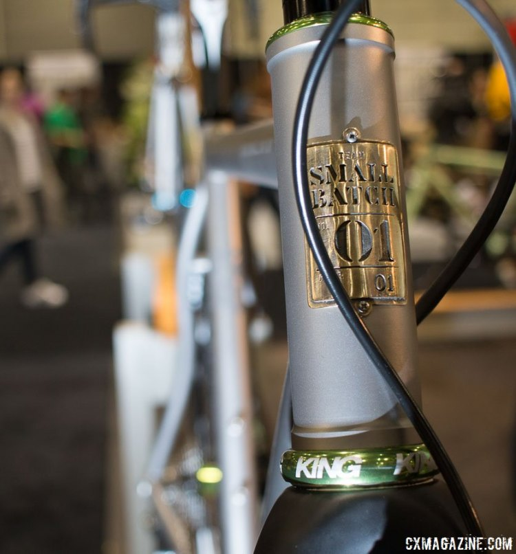 Barcheck races plenty of cyclocross, flying the colors of the Small Batch team he helped start. Mosaic Bespoke Bicycles. NAHBS 2016. © Cyclocross Magazine